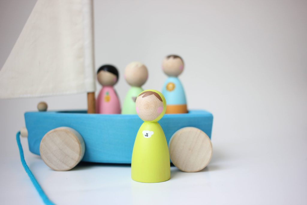 lil peeps by J peg dolls in grimms boat